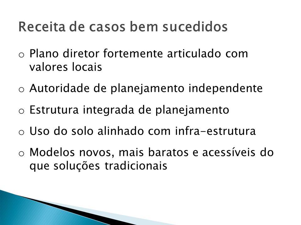 Receita de casos bem sucedidos o Plano diretor fortemente articulado com valores locais o Autoridade de planejamento independente o Estrutura integrad