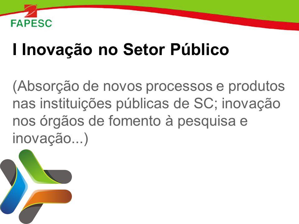 I Inovação no Setor Público (Absorção de novos processos e produtos nas instituições públicas de SC; inovação nos órgãos de fomento à pesquisa e inovação...)