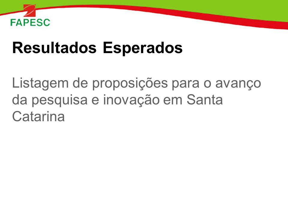 Resultados Esperados Listagem de proposições para o avanço da pesquisa e inovação em Santa Catarina