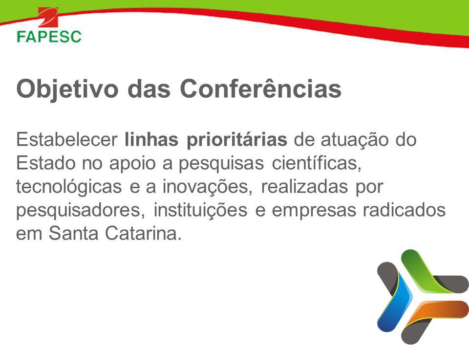 Objetivo das Conferências Estabelecer linhas prioritárias de atuação do Estado no apoio a pesquisas científicas, tecnológicas e a inovações, realizadas por pesquisadores, instituições e empresas radicados em Santa Catarina.