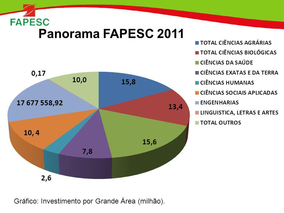 Gráfico: Investimento por Grande Área (milhão). Panorama FAPESC 2011