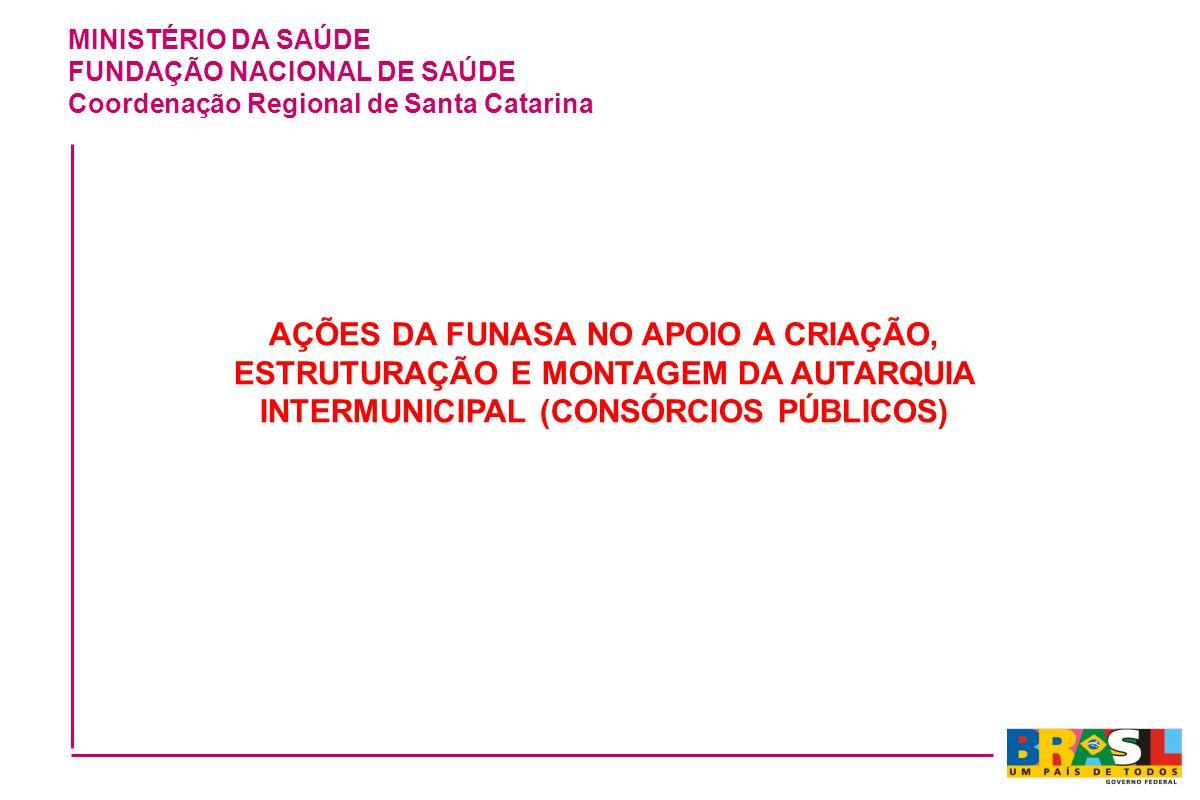 MINISTÉRIO DA SAÚDE FUNDAÇÃO NACIONAL DE SAÚDE Coordenação Regional de Santa Catarina AÇÕES DA FUNASA NO APOIO A CRIAÇÃO, ESTRUTURAÇÃO E MONTAGEM DA A