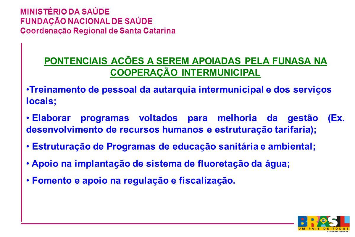 MINISTÉRIO DA SAÚDE FUNDAÇÃO NACIONAL DE SAÚDE Coordenação Regional de Santa Catarina PONTENCIAIS ACÕES A SEREM APOIADAS PELA FUNASA NA COOPERAÇÃO INT