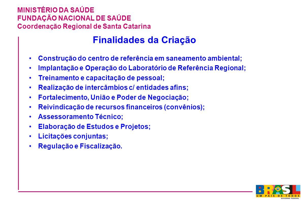 MINISTÉRIO DA SAÚDE FUNDAÇÃO NACIONAL DE SAÚDE Coordenação Regional de Santa Catarina Finalidades da Criação Construção do centro de referência em san