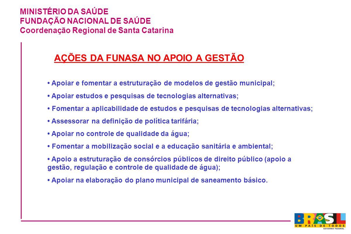 MINISTÉRIO DA SAÚDE FUNDAÇÃO NACIONAL DE SAÚDE Coordenação Regional de Santa Catarina AÇÕES DA FUNASA NO APOIO A GESTÃO Apoiar e fomentar a estruturaç