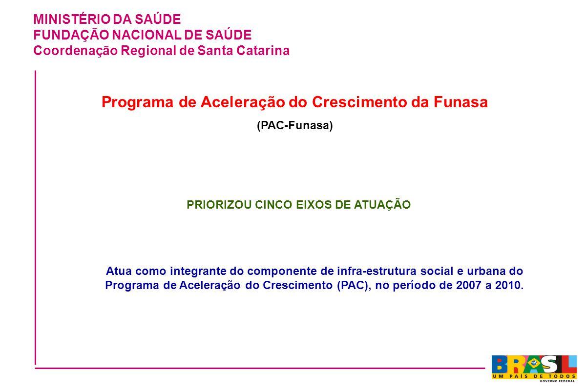 MINISTÉRIO DA SAÚDE FUNDAÇÃO NACIONAL DE SAÚDE Coordenação Regional de Santa Catarina Programa de Aceleração do Crescimento da Funasa (PAC-Funasa) PRI