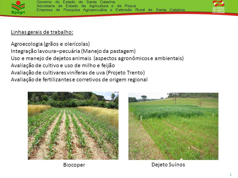 Governo do Estado de Santa Catarina Secretaria de Estado da Agricultura e da Pesca Empresa de Pesquisa Agropecuária e Extensão Rural de Santa Catarina 3 Gases Orgânicos