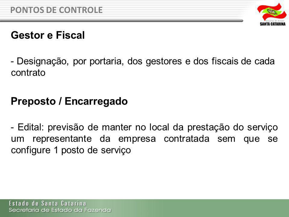 PONTOS DE CONTROLE Gestor e Fiscal - Designação, por portaria, dos gestores e dos fiscais de cada contrato Preposto / Encarregado - Edital: previsão d
