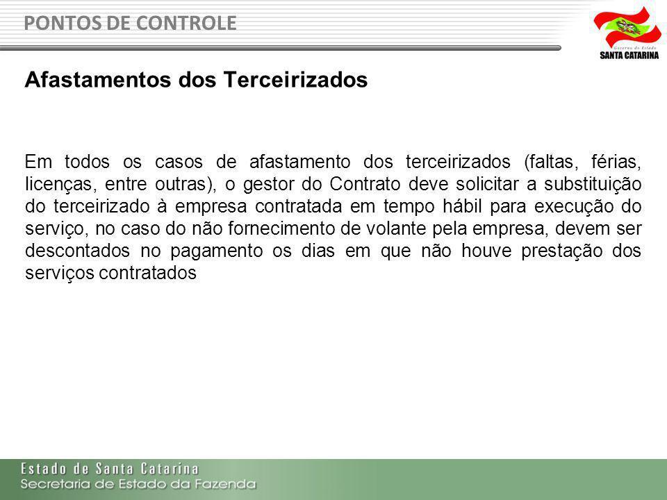 PONTOS DE CONTROLE Afastamentos dos Terceirizados Em todos os casos de afastamento dos terceirizados (faltas, férias, licenças, entre outras), o gesto