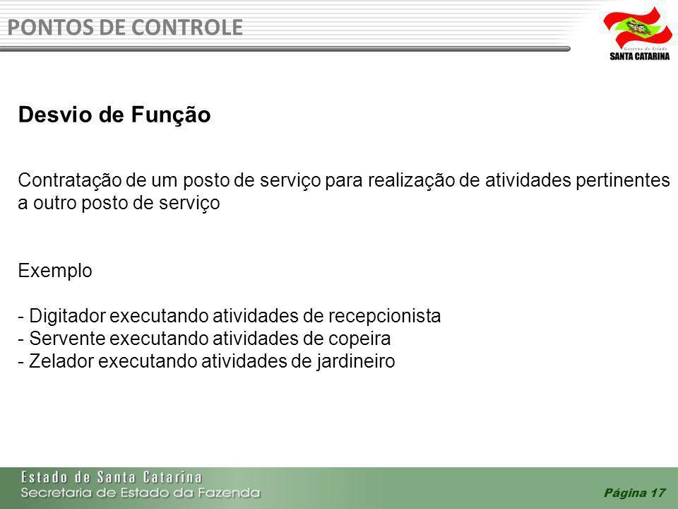 Página 17 PONTOS DE CONTROLE Desvio de Função Contratação de um posto de serviço para realização de atividades pertinentes a outro posto de serviço Ex