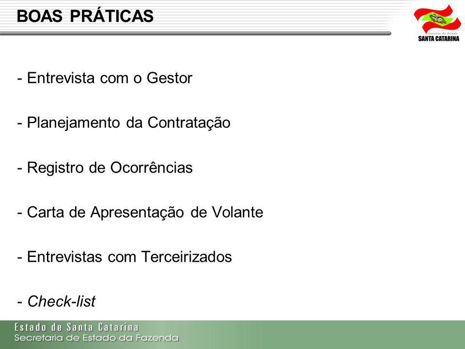 BOAS PRÁTICAS - Entrevista com o Gestor - Planejamento da Contratação - Registro de Ocorrências - Carta de Apresentação de Volante - Entrevistas com T