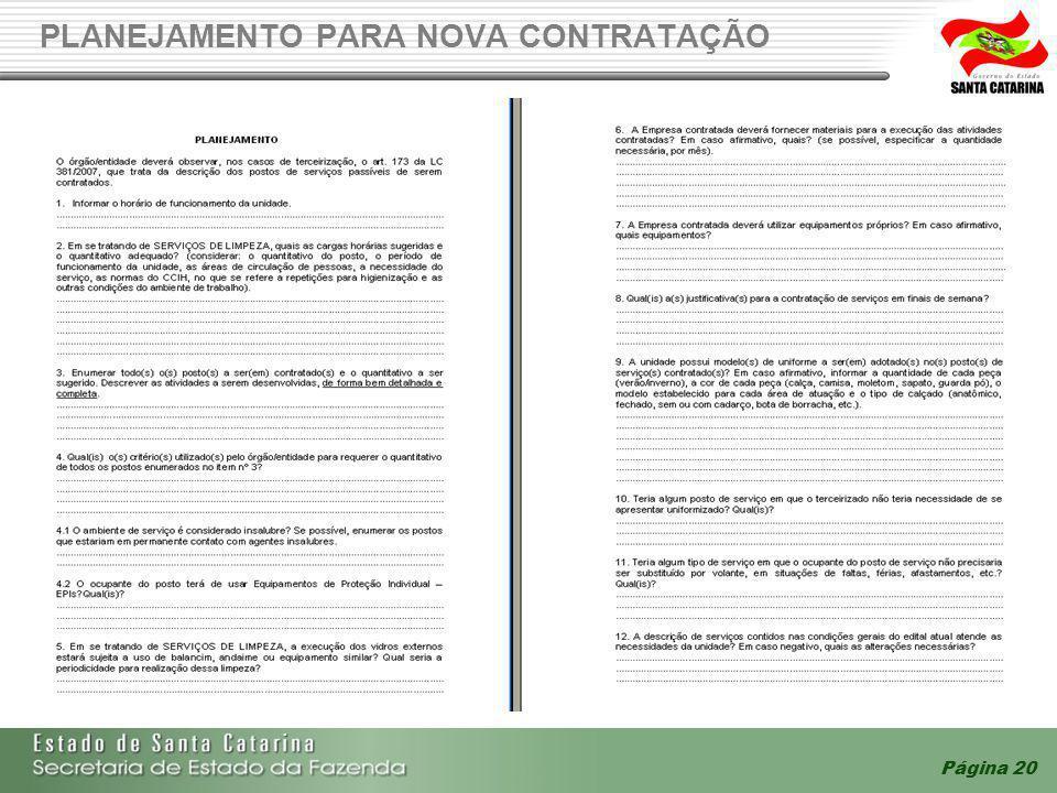 Página 20 PLANEJAMENTO PARA NOVA CONTRATAÇÃO