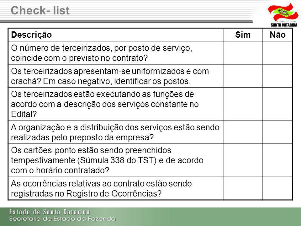 Check- list DescriçãoSimNão O número de terceirizados, por posto de serviço, coincide com o previsto no contrato? Os terceirizados apresentam-se unifo