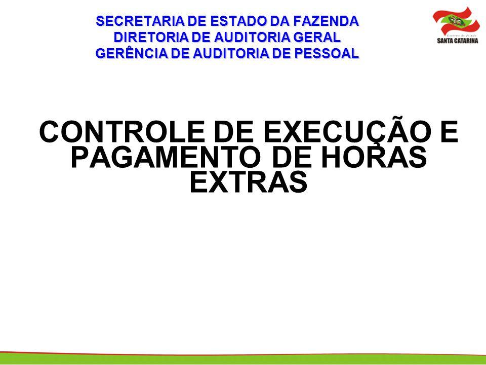 SECRETARIA DE ESTADO DA FAZENDA DIRETORIA DE AUDITORIA GERAL GERÊNCIA DE AUDITORIA DE PESSOAL CONTROLE DE EXECUÇÃO E PAGAMENTO DE HORAS EXTRAS