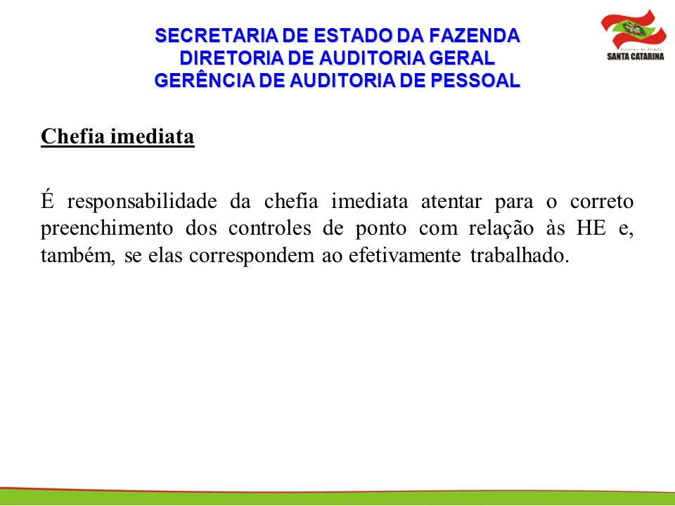 SECRETARIA DE ESTADO DA FAZENDA DIRETORIA DE AUDITORIA GERAL GERÊNCIA DE AUDITORIA DE PESSOAL Chefia imediata É responsabilidade da chefia imediata at