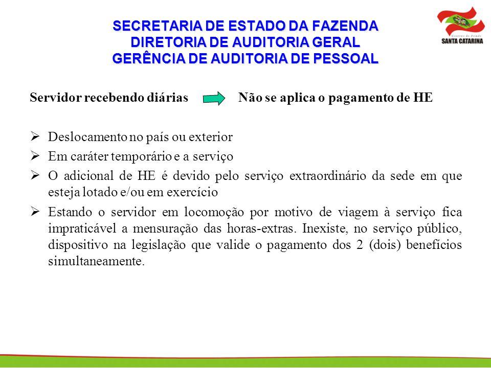 SECRETARIA DE ESTADO DA FAZENDA DIRETORIA DE AUDITORIA GERAL GERÊNCIA DE AUDITORIA DE PESSOAL Servidor recebendo diárias Não se aplica o pagamento de