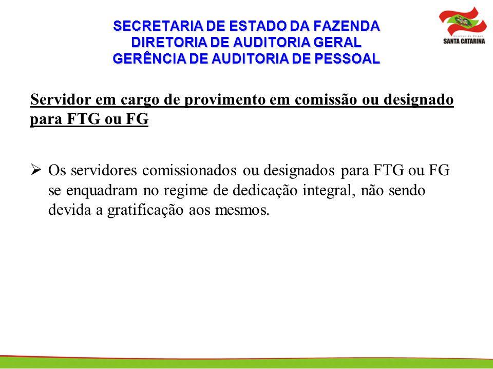 SECRETARIA DE ESTADO DA FAZENDA DIRETORIA DE AUDITORIA GERAL GERÊNCIA DE AUDITORIA DE PESSOAL Servidor em cargo de provimento em comissão ou designado