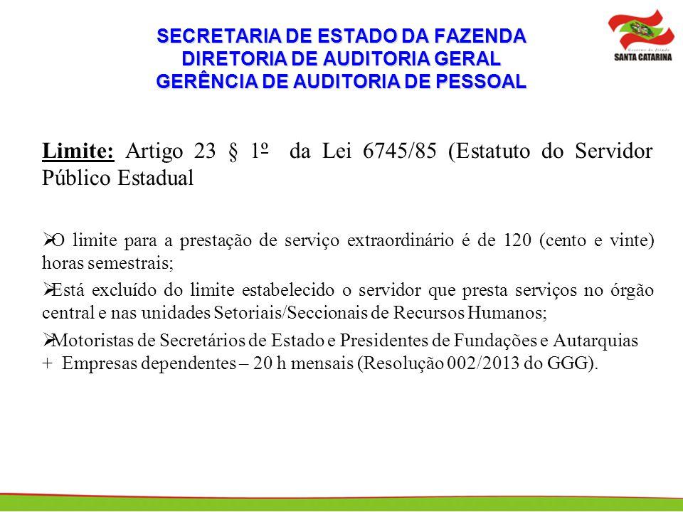 SECRETARIA DE ESTADO DA FAZENDA DIRETORIA DE AUDITORIA GERAL GERÊNCIA DE AUDITORIA DE PESSOAL Limite: Artigo 23 § 1º da Lei 6745/85 (Estatuto do Servi