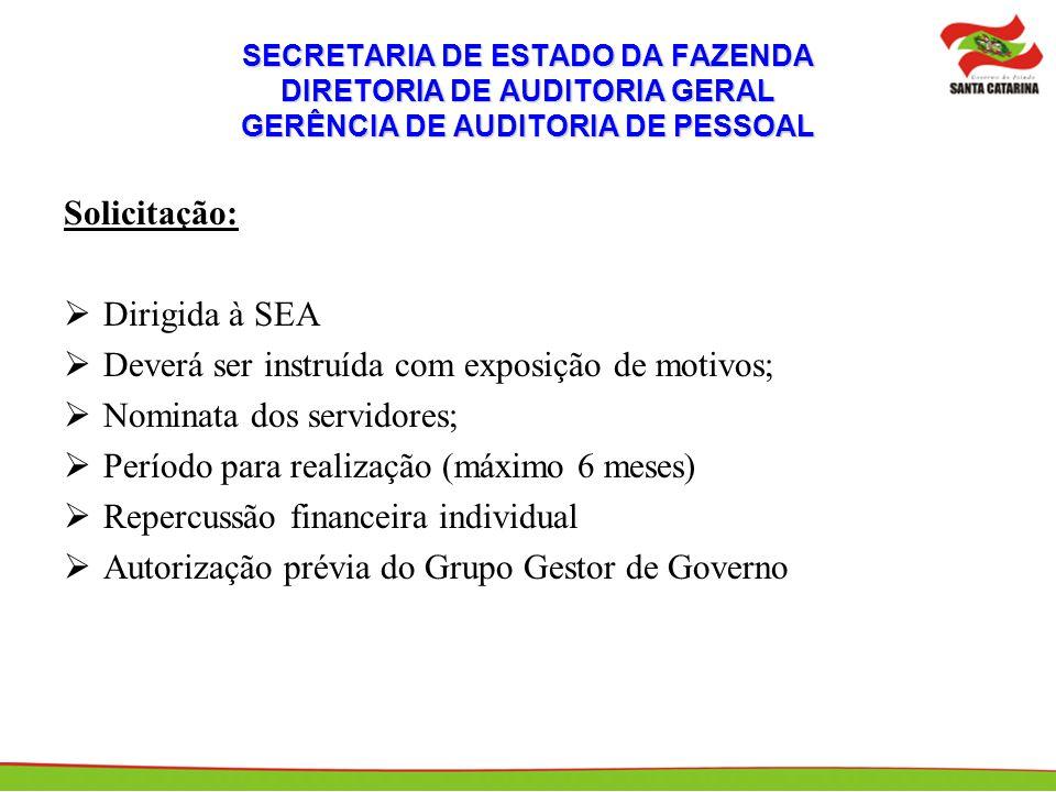 SECRETARIA DE ESTADO DA FAZENDA DIRETORIA DE AUDITORIA GERAL GERÊNCIA DE AUDITORIA DE PESSOAL Solicitação: Dirigida à SEA Deverá ser instruída com exp