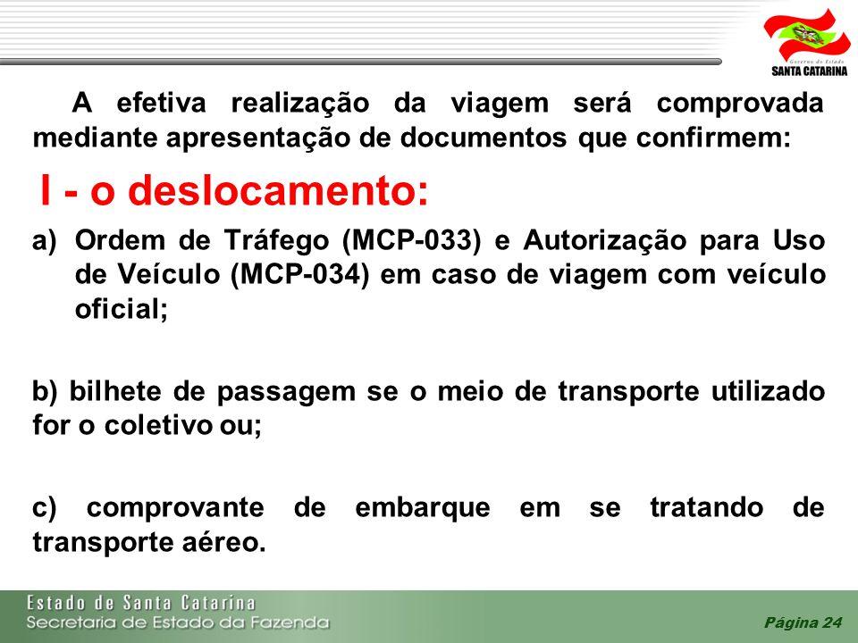A efetiva realização da viagem será comprovada mediante apresentação de documentos que confirmem: I - o deslocamento: a)Ordem de Tráfego (MCP-033) e A
