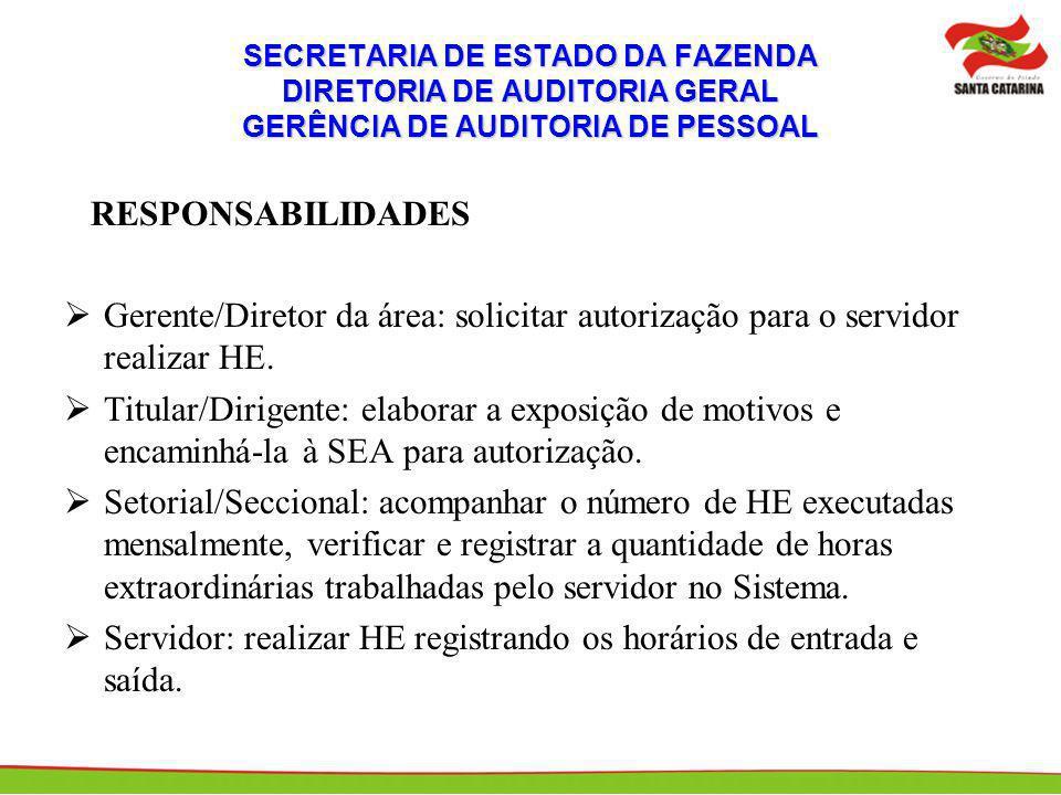 SECRETARIA DE ESTADO DA FAZENDA DIRETORIA DE AUDITORIA GERAL GERÊNCIA DE AUDITORIA DE PESSOAL RESPONSABILIDADES Gerente/Diretor da área: solicitar autorização para o servidor realizar HE.