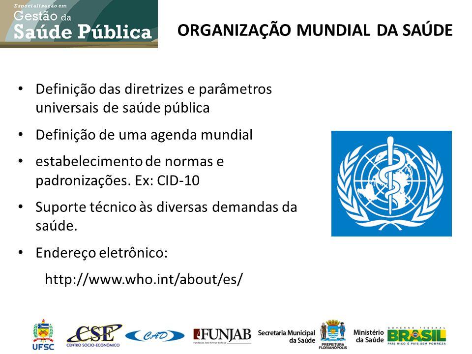 ORGANIZAÇÃO MUNDIAL DA SAÚDE Definição das diretrizes e parâmetros universais de saúde pública Definição de uma agenda mundial estabelecimento de norm