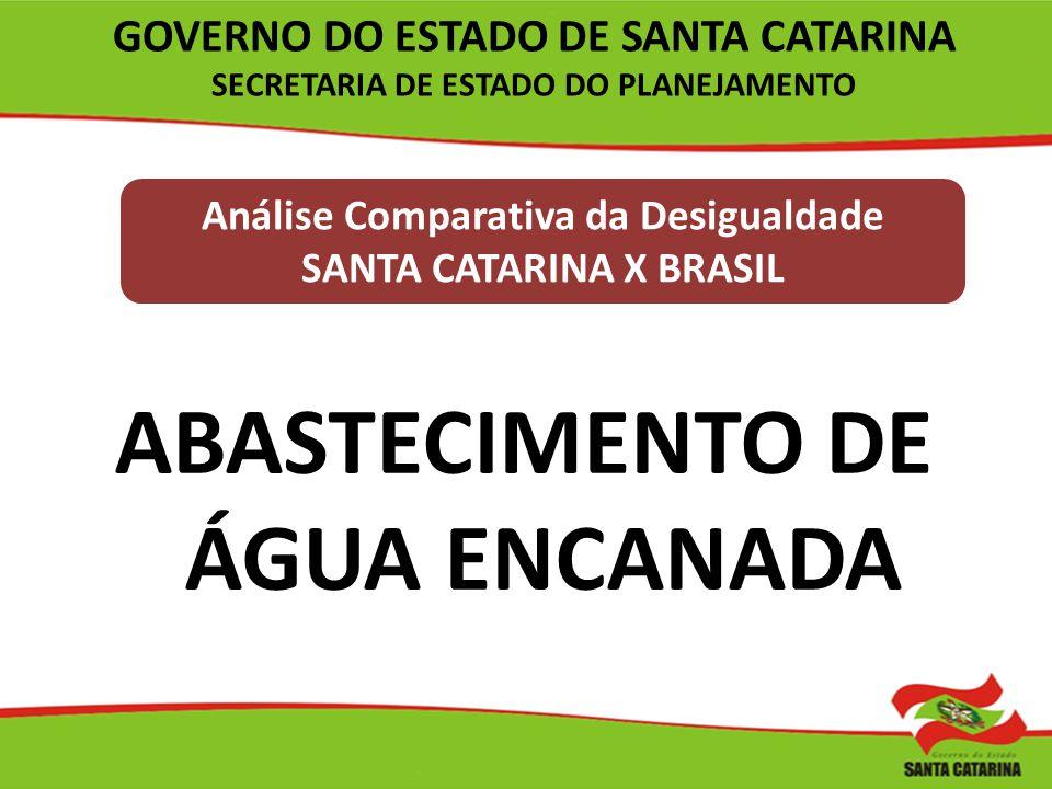 Análise Comparativa da Desigualdade SANTA CATARINA X BRASIL ABASTECIMENTO DE ÁGUA ENCANADA GOVERNO DO ESTADO DE SANTA CATARINA SECRETARIA DE ESTADO DO
