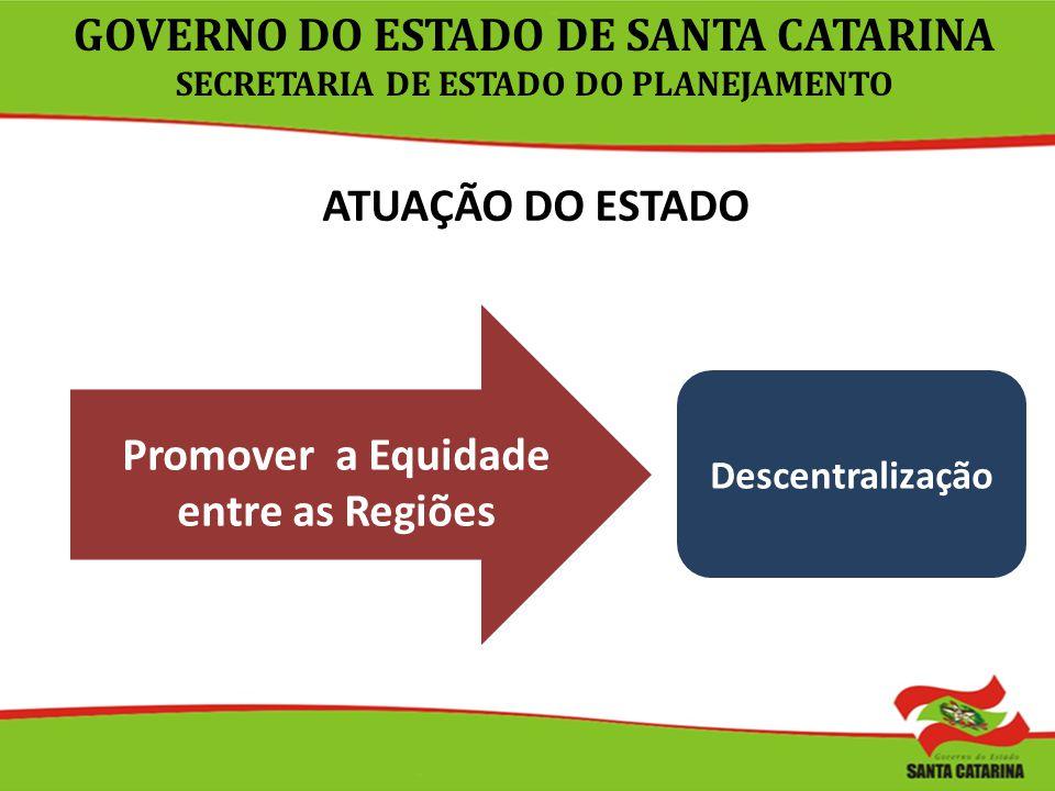 ATUAÇÃO DO ESTADO Promover a Equidade entre as Regiões Descentralização GOVERNO DO ESTADO DE SANTA CATARINA SECRETARIA DE ESTADO DO PLANEJAMENTO