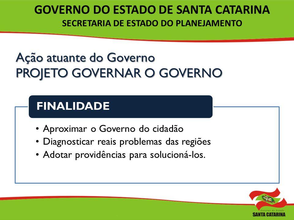 Ação atuante do Governo PROJETO GOVERNAR O GOVERNO Aproximar o Governo do cidadão Diagnosticar reais problemas das regiões Adotar providências para so