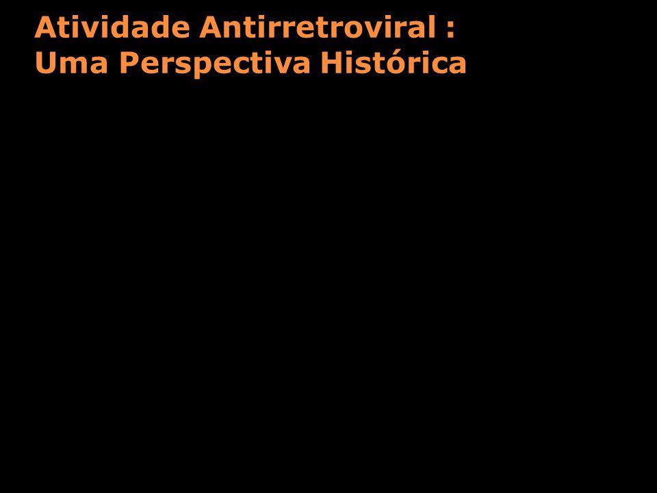 Atividade Antirretroviral : Uma Perspectiva Histórica Evolução do HIV RNA (log 10 mm 3 /mL) 1994: Terapia dupla 1997: HAART 1987: AZT Monoterapia Resposta em 24 semanas 0 -0.5 -1.5 -2 -2.5 -3 0 -0.5 -1.5 -2 -2.5 -3 0 -0.5 -1.5 -2 -2.5 -3 Fischl, NEJM, 1987 Hamilton, NEJM, 1992 Eron, NEJM, 1995; Hammer, NEJM, 1996 Gulick, NEJM, 1997; Cameron, Lancet, 1998 Resposta em 24 semanas Resposta em 24 semanas