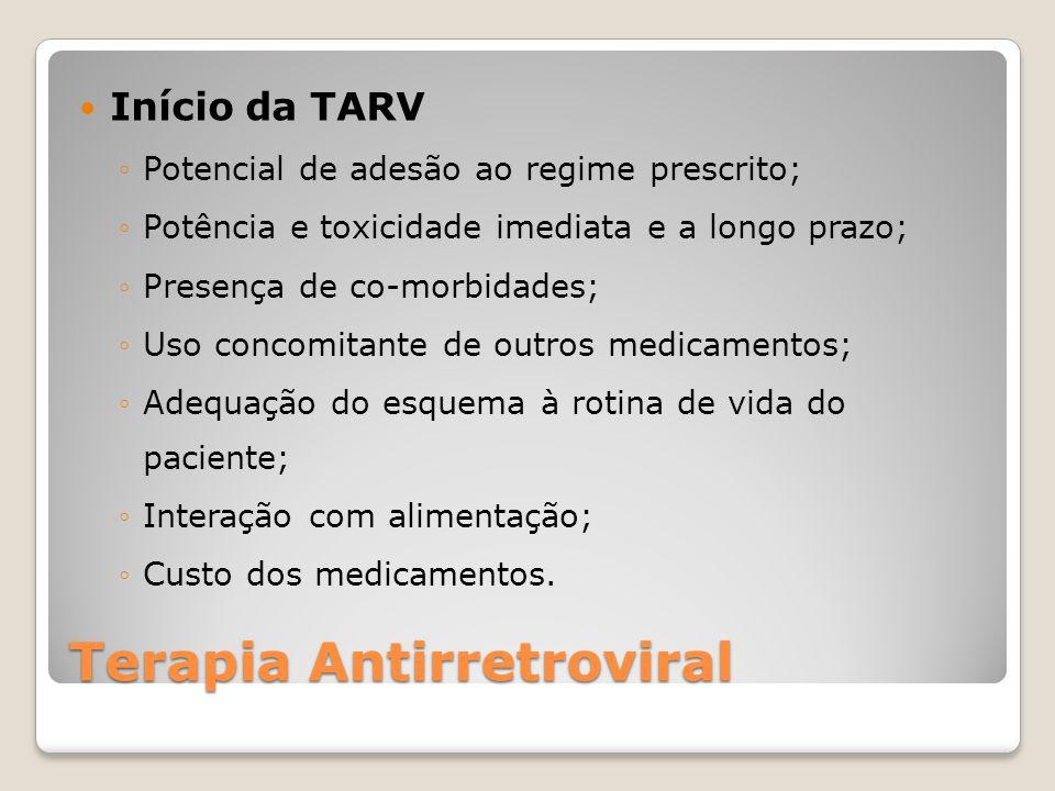 Terapia Antirretroviral Início da TARV Potencial de adesão ao regime prescrito; Potência e toxicidade imediata e a longo prazo; Presença de co-morbidades; Uso concomitante de outros medicamentos; Adequação do esquema à rotina de vida do paciente; Interação com alimentação; Custo dos medicamentos.
