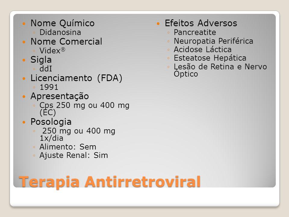 Terapia Antirretroviral Nome Químico Didanosina Nome Comercial Videx ® Sigla ddI Licenciamento (FDA) 1991 Apresentação Cps 250 mg ou 400 mg (EC) Posol