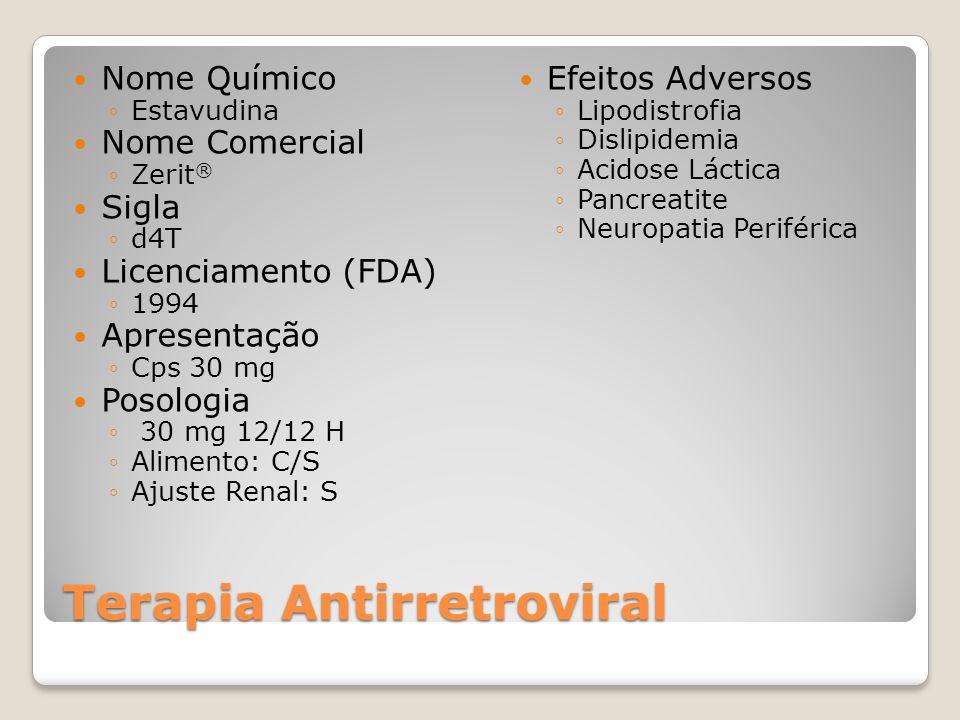 Terapia Antirretroviral Nome Químico Estavudina Nome Comercial Zerit ® Sigla d4T Licenciamento (FDA) 1994 Apresentação Cps 30 mg Posologia 30 mg 12/12