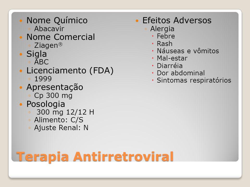 Terapia Antirretroviral Nome Químico Abacavir Nome Comercial Ziagen ® Sigla ABC Licenciamento (FDA) 1999 Apresentação Cp 300 mg Posologia 300 mg 12/12 H Alimento: C/S Ajuste Renal: N Efeitos Adversos Alergia Febre Rash Náuseas e vômitos Mal-estar Diarréia Dor abdominal Sintomas respiratórios