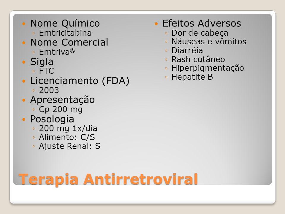 Terapia Antirretroviral Nome Químico Emtricitabina Nome Comercial Emtriva ® Sigla FTC Licenciamento (FDA) 2003 Apresentação Cp 200 mg Posologia 200 mg