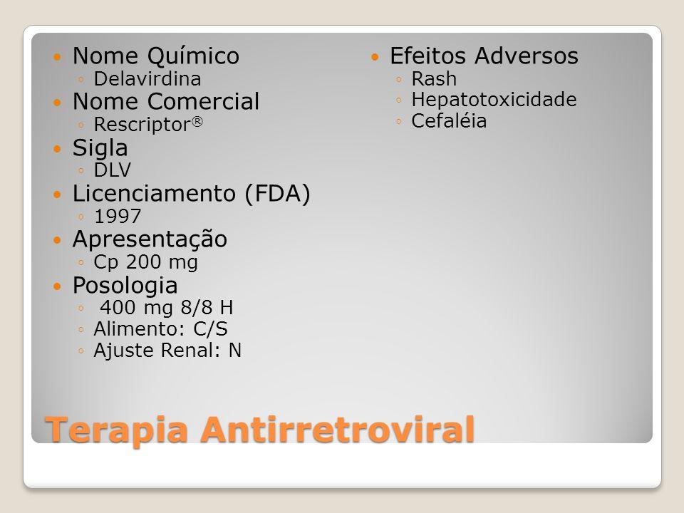 Terapia Antirretroviral Nome Químico Delavirdina Nome Comercial Rescriptor ® Sigla DLV Licenciamento (FDA) 1997 Apresentação Cp 200 mg Posologia 400 mg 8/8 H Alimento: C/S Ajuste Renal: N Efeitos Adversos Rash Hepatotoxicidade Cefaléia