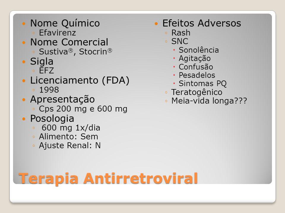 Terapia Antirretroviral Nome Químico Efavirenz Nome Comercial Sustiva ®, Stocrin ® Sigla EFZ Licenciamento (FDA) 1998 Apresentação Cps 200 mg e 600 mg
