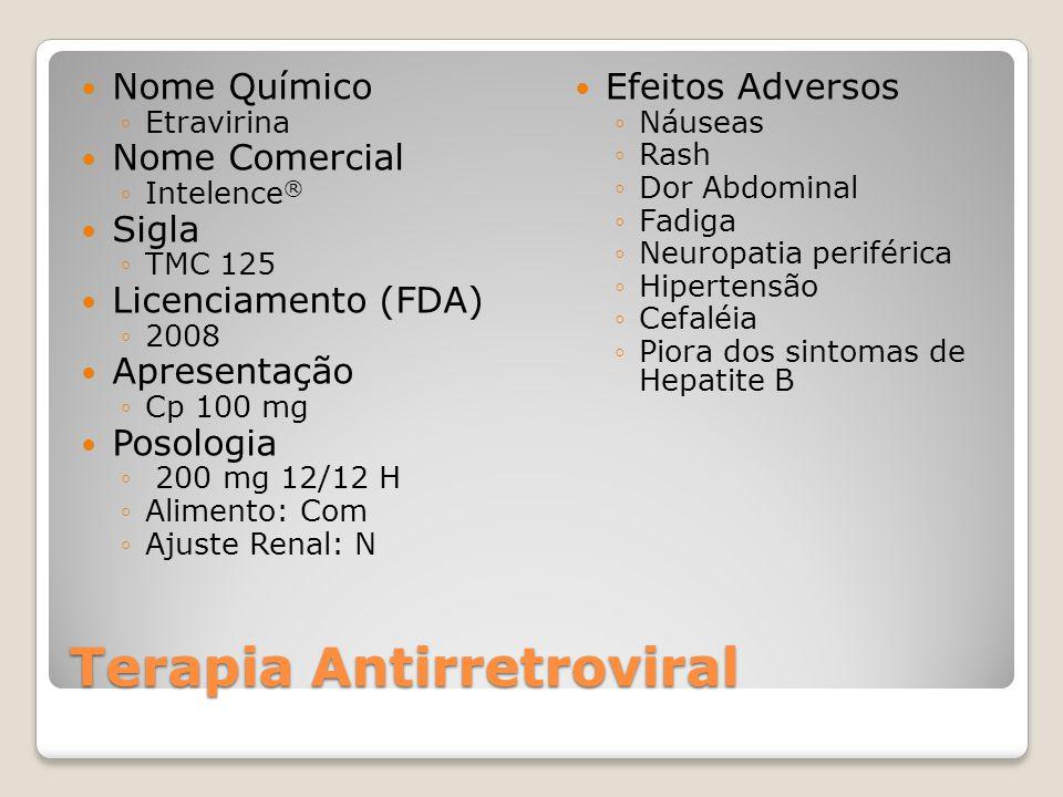 Terapia Antirretroviral Nome Químico Etravirina Nome Comercial Intelence ® Sigla TMC 125 Licenciamento (FDA) 2008 Apresentação Cp 100 mg Posologia 200 mg 12/12 H Alimento: Com Ajuste Renal: N Efeitos Adversos Náuseas Rash Dor Abdominal Fadiga Neuropatia periférica Hipertensão Cefaléia Piora dos sintomas de Hepatite B