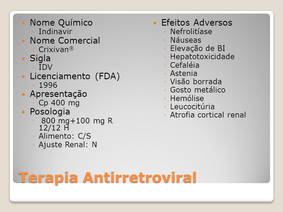 Terapia Antirretroviral Nome Químico Indinavir Nome Comercial Crixivan ® Sigla IDV Licenciamento (FDA) 1996 Apresentação Cp 400 mg Posologia 800 mg+10