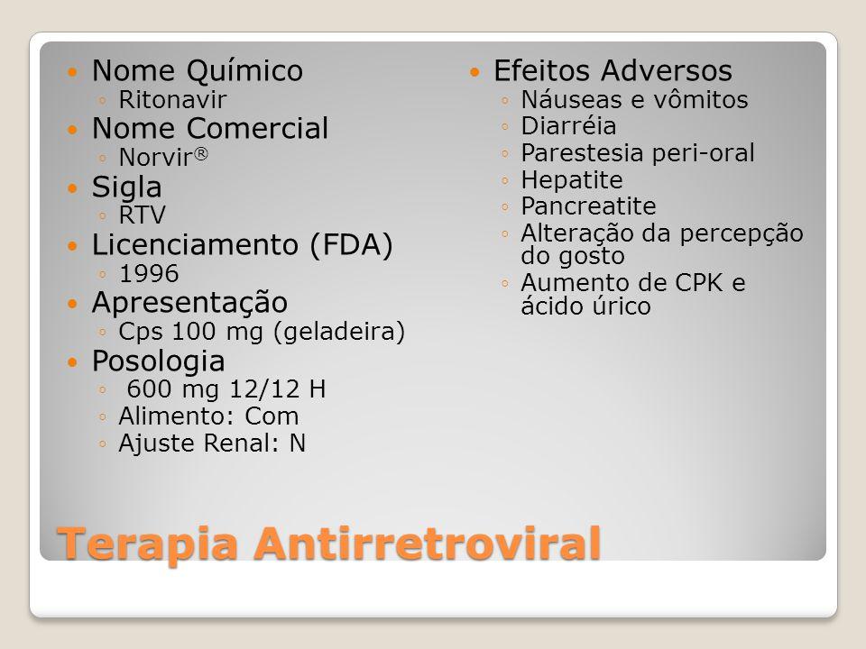 Terapia Antirretroviral Nome Químico Ritonavir Nome Comercial Norvir ® Sigla RTV Licenciamento (FDA) 1996 Apresentação Cps 100 mg (geladeira) Posologia 600 mg 12/12 H Alimento: Com Ajuste Renal: N Efeitos Adversos Náuseas e vômitos Diarréia Parestesia peri-oral Hepatite Pancreatite Alteração da percepção do gosto Aumento de CPK e ácido úrico