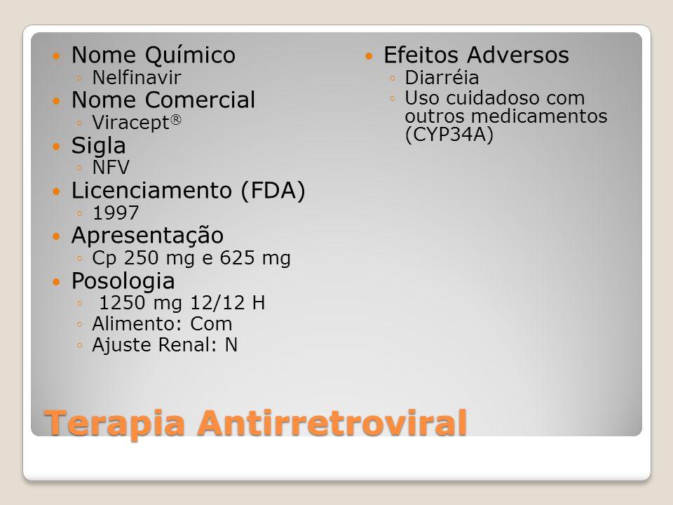 Terapia Antirretroviral Nome Químico Nelfinavir Nome Comercial Viracept ® Sigla NFV Licenciamento (FDA) 1997 Apresentação Cp 250 mg e 625 mg Posologia 1250 mg 12/12 H Alimento: Com Ajuste Renal: N Efeitos Adversos Diarréia Uso cuidadoso com outros medicamentos (CYP34A)