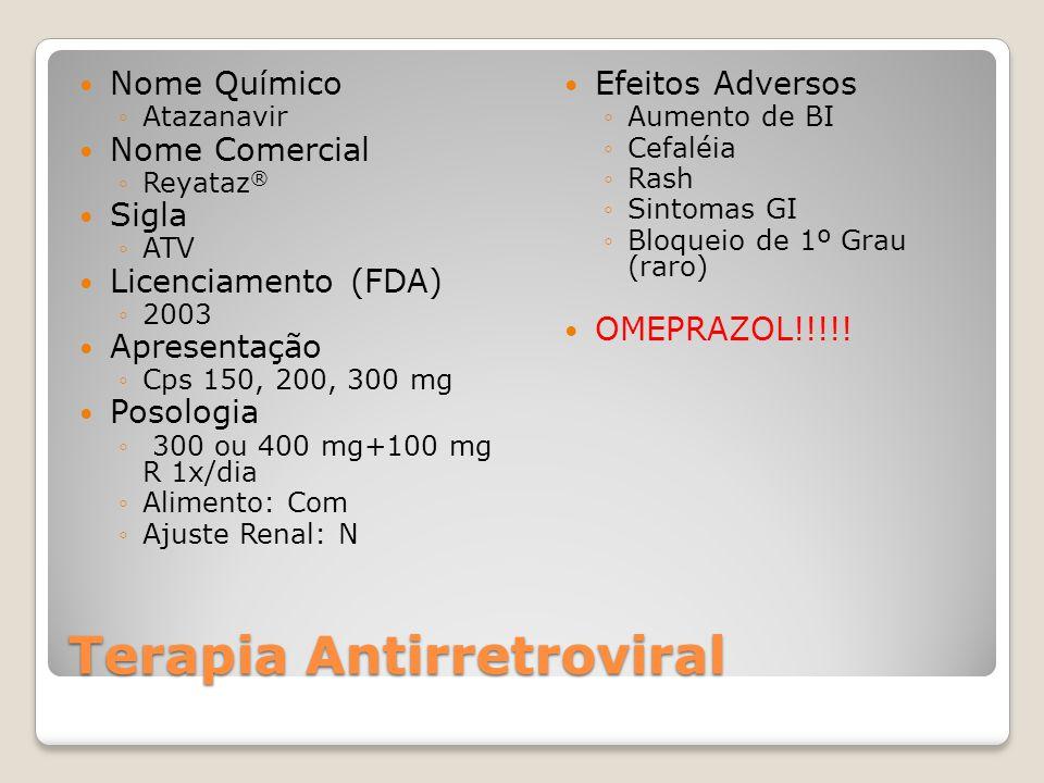 Terapia Antirretroviral Nome Químico Atazanavir Nome Comercial Reyataz ® Sigla ATV Licenciamento (FDA) 2003 Apresentação Cps 150, 200, 300 mg Posologi