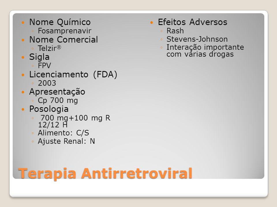 Terapia Antirretroviral Nome Químico Fosamprenavir Nome Comercial Telzir ® Sigla FPV Licenciamento (FDA) 2003 Apresentação Cp 700 mg Posologia 700 mg+