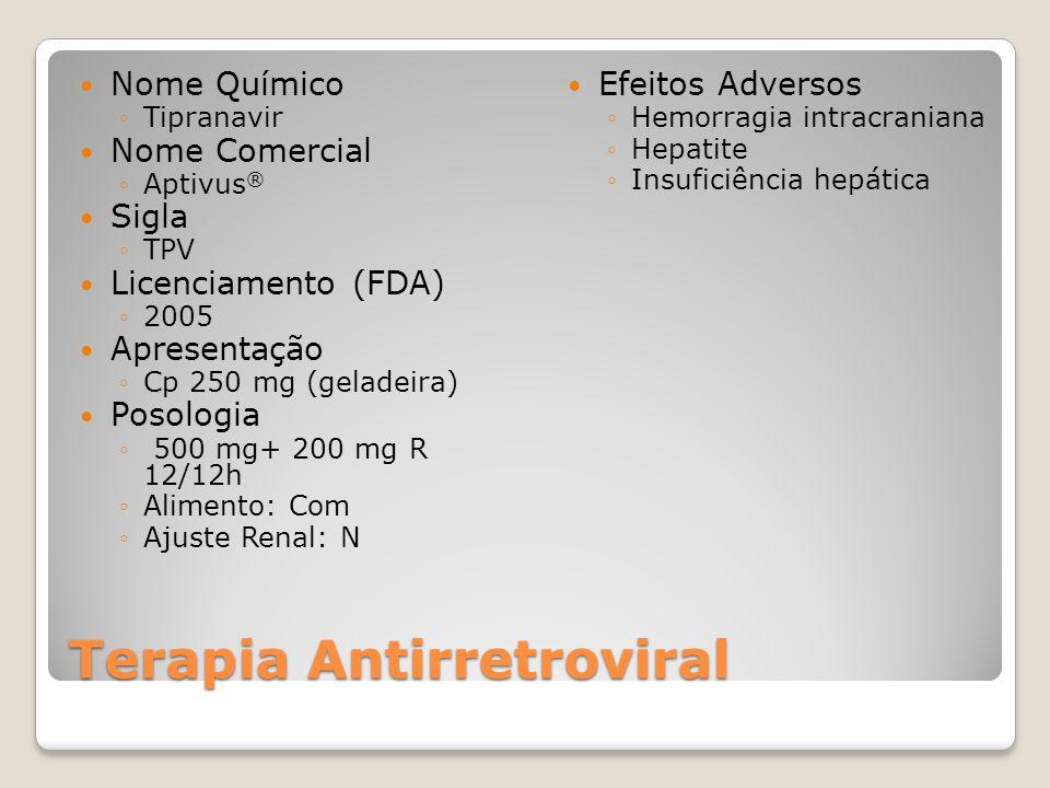 Terapia Antirretroviral Nome Químico Tipranavir Nome Comercial Aptivus ® Sigla TPV Licenciamento (FDA) 2005 Apresentação Cp 250 mg (geladeira) Posologia 500 mg+ 200 mg R 12/12h Alimento: Com Ajuste Renal: N Efeitos Adversos Hemorragia intracraniana Hepatite Insuficiência hepática