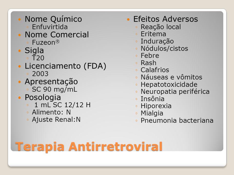 Terapia Antirretroviral Nome Químico Enfuvirtida Nome Comercial Fuzeon ® Sigla T20 Licenciamento (FDA) 2003 Apresentação SC 90 mg/mL Posologia 1 mL SC