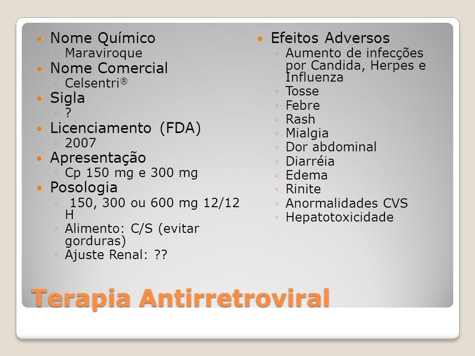 Terapia Antirretroviral Nome Químico Maraviroque Nome Comercial Celsentri ® Sigla ? Licenciamento (FDA) 2007 Apresentação Cp 150 mg e 300 mg Posologia