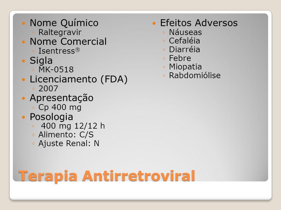 Terapia Antirretroviral Nome Químico Raltegravir Nome Comercial Isentress ® Sigla MK-0518 Licenciamento (FDA) 2007 Apresentação Cp 400 mg Posologia 40