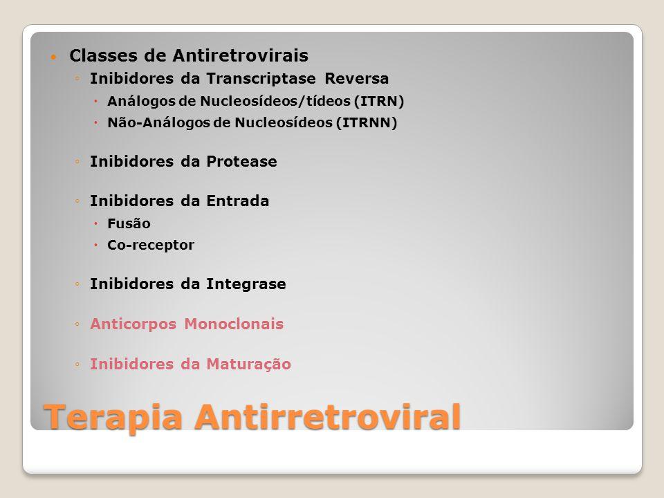 Classes de Antiretrovirais Inibidores da Transcriptase Reversa Análogos de Nucleosídeos/tídeos (ITRN) Não-Análogos de Nucleosídeos (ITRNN) Inibidores da Protease Inibidores da Entrada Fusão Co-receptor Inibidores da Integrase Anticorpos Monoclonais Inibidores da Maturação