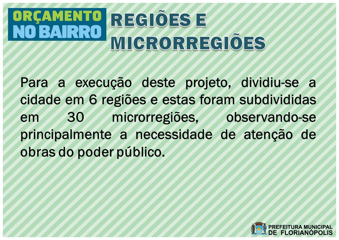 Para a execução deste projeto, dividiu-se a cidade em 6 regiões e estas foram subdivididas em 30 microrregiões, observando-se principalmente a necessidade de atenção de obras do poder público.