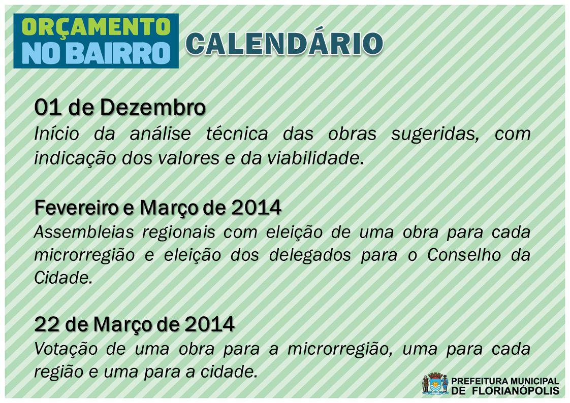 01 de Dezembro Início da análise técnica das obras sugeridas, com indicação dos valores e da viabilidade.